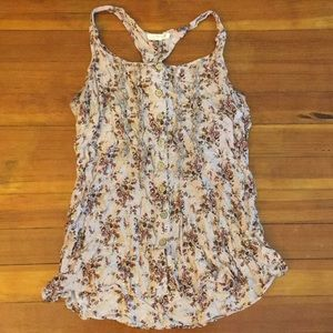 Purple and pink floral tank top